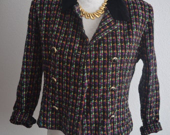 Vintage colorful 50s tweed blazer jacket Jessica Howard