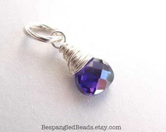 Purple Quartz Charm or Pendant in Sterling Silver. Bright or antiqued finish