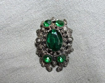 20s Large Silver and Green Glass Dress or Fur Clip