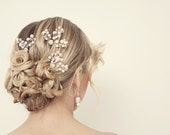 Pearl hair pins, Bridal hair pins, Pearl and crystal hair pins, Bridal hair accessories, pearl hair accessories
