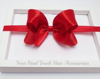 Red Bow Headband, Bow Headband, Satin Hair Bow, Newborn Headband, Baby Headband, 4 Inch Bow, Satin Bow, Baby Hair Bows, Hair Bows, 400,HB