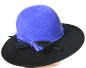 Black and Royal Blue Fur Felt Medium Brim  Hat for Women,