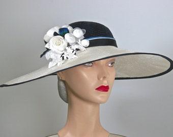 Wide Brim Kentucky Derby Hat, Navy and White Women's Hat, WIDE BRIM  Navy Straw Hat