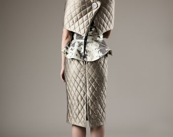 Skirt, bustier and stole, quilted silk and coton, haute couture
