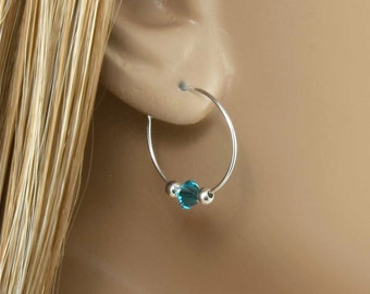 """Sterling Silver Birthstone Earrings with 1 Swarovski Birthstone Crystal, 5/8""""(16mm) Sterling Silver Hoop, your choice of Birthstone colors"""