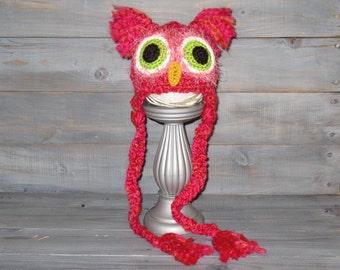 Newborn Pink Owl Crochet Hat With Braids, photo prop, fuzzy
