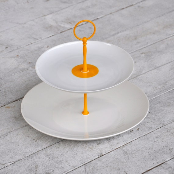 Cake Stand, Geometric Design Yellow Dot, White 2 Tier Cupcake Stand, Serving Tray, Modern