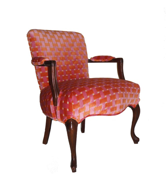 Upholstered wooden arm chair orange pink velvet for Wooden kitchen chairs with arms