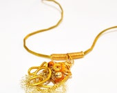 Necklace Gold Aluminum Wire Wrapped Crochet and Orange Beads and Yellow Saffron Satin Necklace