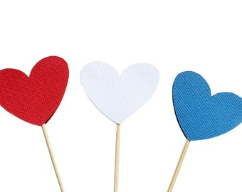 Patriotic Heart Cupcake Toppers /  Red White and Blue Cupcake Toppers - Fourth of July Cupcake Toppers - Independence day Cupcake Toppers