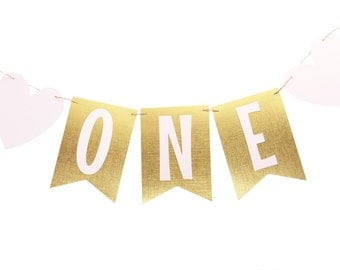 Pink and Gold First Birthday Banner - One Birthday Banner - Gold Flag Banner - One Flag Banner - Pink and Gold BIrthday - Highchair Banner