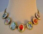 Rare Victorian Necklace / Painted Micro Mosaic /  Different Flower in Each Cabochon / Lovely for Gardener