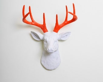 Faux Deer Mount - The MINI Adelaide - White w/Orange Antlers Resin Deer Head- Stag Resin White Faux Taxidermy- Chic & Trendy