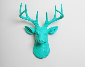 Deer Head Wall Mount - The MINI Penelope - Turquoise Resin Deer Head- Stag Resin - Chic & Original Stag Wall Art By White Faux Taxidermy