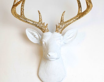 Deer Head Wall Mount - The XL Winston - White Resin Deer Head w/Gold Glitter Antlers- Resin Stag Animal Head by White Faux Taxidermy