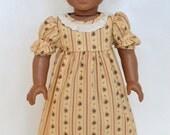 American Girl 18 Inch Historical Doll Dress Regency Era Empire Jane Austen Caroline - Cream Stripe
