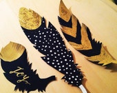 Gold Paper Feather Gift Tags (set of 6) --These tags come blank or custom with hand lettering words or names of preference