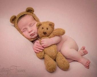 Beige Baby Bear Bonnet Photo Prop, Knitted, Newborn, MADE TO ORDER