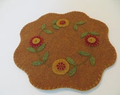 Felt Penny Rug with Penny Flowers, Felt Candle Mat, Table Decor, Earth Tones, Table Decor, Felt Needlecraft, One of a Kind, November gift