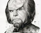 Worf Portrait Star Trek Art Klingon Watercolor Painting Giclee Print Sci Fi Art Illustration Geek Decor
