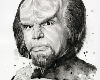 Worf Portrait Star Trek Worf Art Klingon Star Trek Sci-Fi Decor Watercolor Painting Giclee Print Sci Fi Art Illustration Geek Decor
