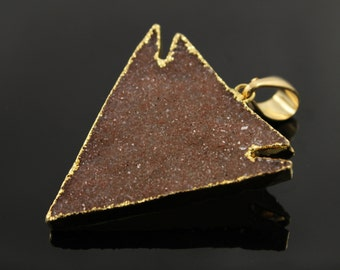 Large Arrowhead Druzy Triangle Pendant in Stunning Earth Tones, Heavy Gold Plated, 38x38mm, A+ Gorgeous Quality  (DZY/TRI/144)