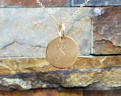 "Mini Gold Initial Monogram Necklace, 5/8"" 14K Gold Filled Disc Personalized and Engraved Monogrammed Great for Bridesmaids"