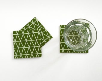 Forest Triangle Coasters - Set of four - White Triangle Pattern on Forest Green Wool Felt