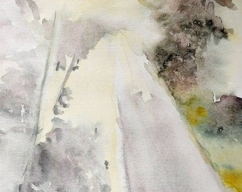 The Road Ahead. Fine art print. Abstract watercolor landscape painting. Archival paper or Canvas. natural colors, geen, grey