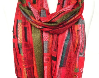 Red Scarf. Geometric Pashmina Scarf. Colorful Fringe Scarf. Birthday Gift. Soft Winter Scarf. Velvet Gift. 13x70in (33x180cm) Ready2Ship