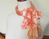 Golden pumpkin hand dyed Devore satin scarf, silk scarf #372, ready to ship
