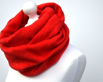 Red infinity scarf, gift for her, fleece scarf, girlfriend, cowl scarf, chunky scarf, fleece cowl, outdoor clothing, gift for women