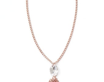 Rose Gold Statement Necklace Swarovski Crystal statement jewelry chain long necklace tassel YOUNG & BEAUTIFUL