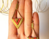 Brass and Leather earrings. Brass Geometric Earrings, Red and Gold leather Earrings. Brass Jewelry