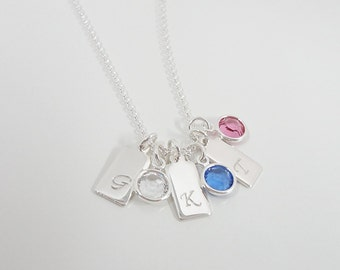Tiny Sterling Silver Initial Necklace - Tiny Initial Tags with Swarovski Birthstones - Hand Stamped Jewelry