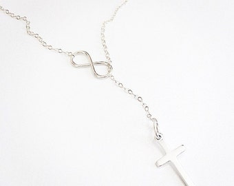 Free Shipping...Sterling silver or 14k Gold infinity & cross necklace