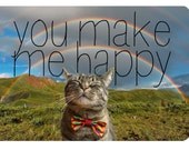 You Make Me Happy Postcard with Cat Wearing a Bow TIe