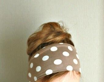 women headband polka dot tan white workout headband sport head wrap mod hair band beach retro pin up beige exercise headband jersey stretch