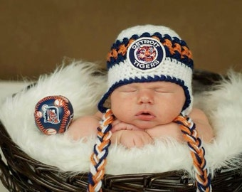 Handmade Newborn Baby Earflap Crochet Hat with 1960 Vintage Tigers Patch
