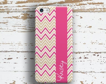 Chevron Iphone 7 case, Pink Iphone 7 plus case, Name iPhone 6s case, Women's iPhone 6 case, Gifts for Her under 30, Pink tan white (1053)