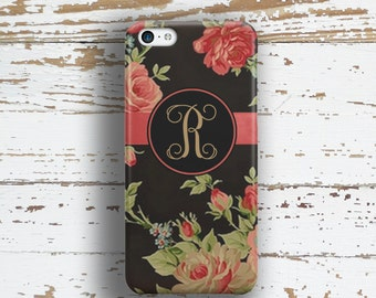 Monogram Iphone 5c case, Women's Iphone 6+ case, Elegant iPhone 5s case Floral iPhone 6s case, Women's fashion, Black red roses green (9637P