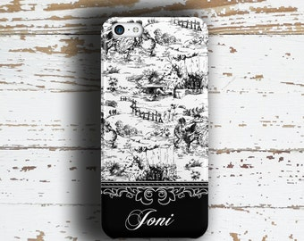 Monogram Iphone 5 case, Toile Iphone 6 Plus case, Floral iPhone 5 case, Womens iPhone 4 case, Unique gift for women, Black white (9642)