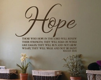Isaiah 40:31 Those who hope in the Lord will renew their strength Scripture Vinyl decal bible verse church office ISA40V31-0001
