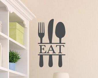 Eat Silverware- Kitchen wall vinyl - Dining Room Wording - Utensils - bistro Decal-kitchen utensils- vinyl wall lettering HH2054