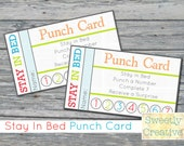 Stay In Bed Punch Card Printable - INSTANT DOWNLOAD - Printable Digital Files