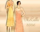 McCall 5956 1930s Lingerie Pattern Slip with Princess Seams and Two Neckline Variations Printo Gravure Bust 38
