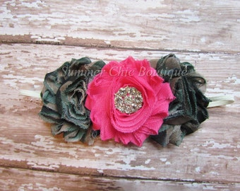 Camo headband, Army Headband, Baby Camo Headband, Shabby Headband Bright Pink and Camo Rosettes on  Skinny Elastic