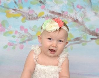Baby Headband, Infant Headband, Newborn Headband,  Shabby Chic Headband Triple Rosette Headband, - Coral, Mint, and Ivory