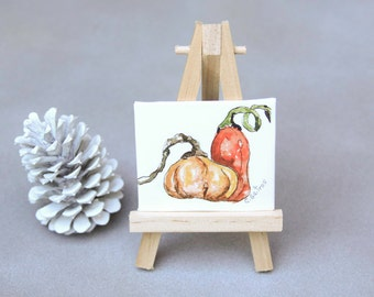 Mini fine art watercolor and easel, pumpkins nature watercolor, rustic decor, holiday table decor, hostess gift, housewarming gift under 20