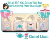 "Little Girl Tea Party Birthday Treat Favor Gift Bags Mini 6"" White Canvas Totes Children Kids Guests Tea Party Favor Gift Bags - Set of 4"